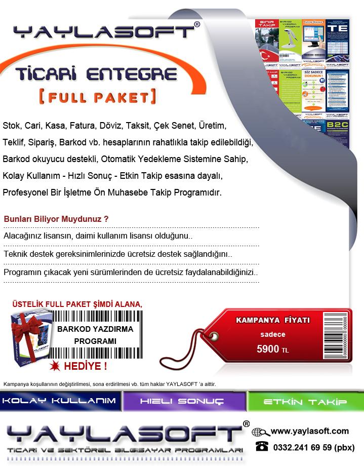 YAYLASOFT Ticari muhasebe Takip Programı fiyat
